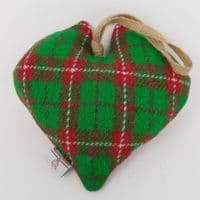 XMAS HEART seasonal handmade with Harris Tweed green and red check ideal gift or interior accessory